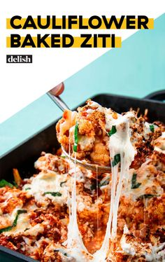 Cauliflower Baked Ziti Will Be Your New Low-Carb Go-ToDelish ( be sure to steam cauliflower first so the end result is not 'soupy') Vegetable Recipes, Beef Recipes, Low Carb Recipes, Vegetarian Recipes, Cooking Recipes, Healthy Recipes, Easy Recipes, Baked Cauliflower, Cauliflower Recipes