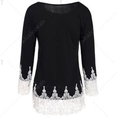 Stylish Scoop Neck 3/4 Sleeve Lace Splicing T-Shirt For Women   TwinkleDeals.com