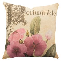 Cotton denim pillow with a periwinkle motif. Handmade in the USA.   Product: PillowConstruction Material: 100% ...