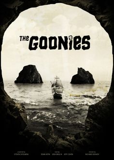 Movie Poster Art: The Goonies (1985) (TONS of great Goonies art that I can hopefully 'borrow' for arts, crafts, & DIY clothing projects.)