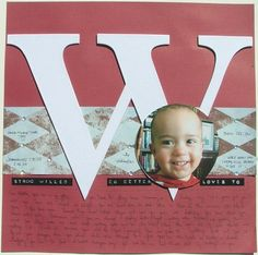 Scrapbook Layout Ideas - giant chipboard - red, white, blue, black, brown - harlequin print - bling - hand journaling