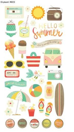 Simple Stories > Summer Vibes > Summer Vibes Chipboard Stickers - Simple Stories: A Cherry On Top Printable Stickers, Printable Paper, Planner Stickers, Free Printables, Printable Tags, Simple Stories, Diy And Crafts, Paper Crafts, Pocket Letters