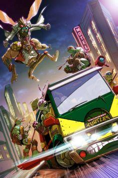Van chase at New York City, Teenage Mutant Ninja Turtles artwork by Mia Cabrera.