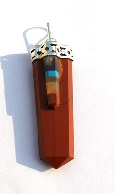 Red Jasper 7 Chakra Bonded Flat Pencil Pendant by RareGemsNJewels