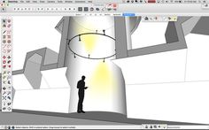 Lighting a tower with rail lighting use SUPodium components and Skalp for SketchUp.   project by sketchuptrainer.com