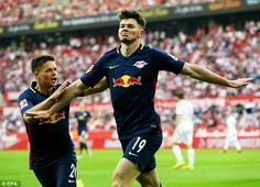 Oliver Burke celebrates his goal for RB Leipzig in their 1-1 Bundesliga draw with Cologne
