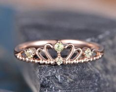 Peridot Rose Gold Engagement Ring Queen Anniversary Ring Princess Crown Promise Ring August Birthstone Wedding Bridal Tiara Half Eternity