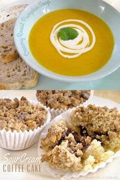 Two recipes using homemade vegan sour cream - Creamy Roast Pumpkin Soup and Sour Cream Coffee Cakes.