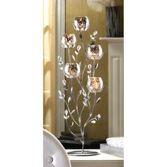 Silver Tulip Tree Candle Holder