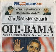 Actual Newspaper Printing Plate Declaring Barack Obama was Elected President