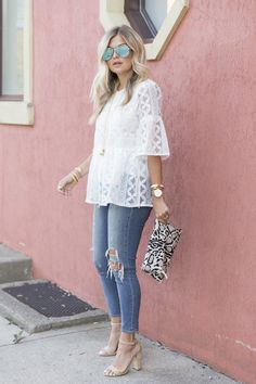 lace white blouse-Fashion guide for spring summer outfits – Just Trendy Girls Trendy Summer Outfits, Stylish Outfits, Spring Outfits, Cute Outfits, Spring Summer Fashion, Plus Size Fashion, Fashion Dresses, Clothes For Women, Womens Fashion