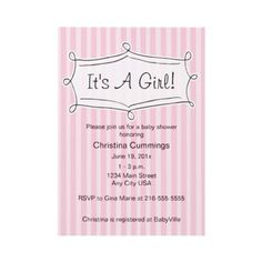 Sweetly Striped Baby Shower Invitation (Pink)