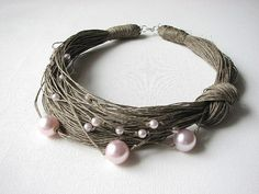 Pink Pearls linen Necklace by GreyHeartOfStone on Etsy