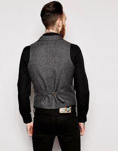 Image 2 of ASOS Slim Fit Vest In Herringbone With Shawl Collar Workout Vest, Herringbone, Fashion Online, Shawl, Asos, Slim, Fitness, Shopping, Image