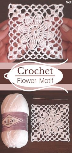 Crochet Motif Patterns, Granny Square Crochet Pattern, Crochet Blocks, Crochet Squares, Thread Crochet, Crochet Doilies, Crochet Flowers, Crochet Stitches, Granny Square Häkelanleitung