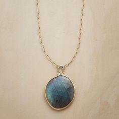 CHROMATIX NECKLACE--An astoundingly iridescent slice of labradorite centers Jennifer Dawes' necklace