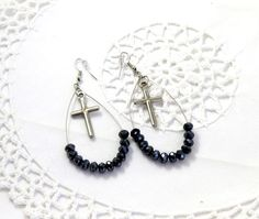 Wire crystal black drop earrings with silver tone by jewlerystar