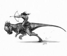 Indian Brave on a pachycephalosaurus