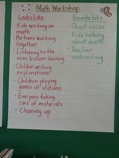 This chart displayed in the second grade classroom shows what Math Workshop looks and sounds like.