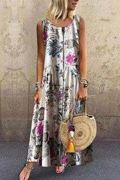 Vintage Print Floral Sleeveless Button Down Dress Online - NewChic Mobile Day Dresses, Casual Dresses, Fashion Dresses, Summer Dresses, Women's Fashion, Comfy Dresses, Mini Dresses, Fashion Online, Fashion Design
