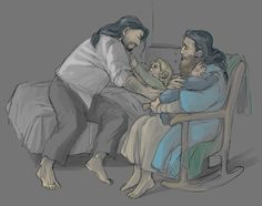 Little Kili is sick and Fili cries because Kili is crying and Thorin tries to comfort Fili at the same time as Dis is singing to comfort Kili