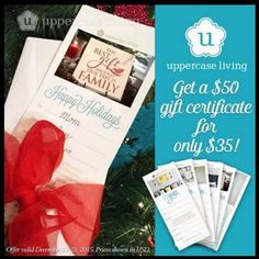 SPECIAL OFFER: Get $50 Gift Certificate for only $35! I'm not kidding! Uppercase Living Gift Certificates make a perfect gift for anyone on your list this holiday season! Don't miss this opportunity to get a $50 Gift Certificate for only $35 (Item #11050)! This special offer ends Monday, December 21st.  #WhenWallsTalk #ULGiftCertificate #SpecialOffer