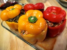 Healthy Gourmet Meal: Stuffed peppers! Vegetarian & Omni recipes options.