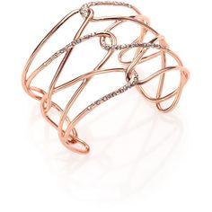 Alexis Bittar Miss Havisham Liquid Crystal Barbed Cuff Bracelet/Rose... (705 BRL) ❤ liked on Polyvore featuring jewelry, bracelets, apparel & accessories, rose gold, cuff bracelet, crystal jewelry, cuff bangle, alexis bittar bangle and swarovski crystal jewelry