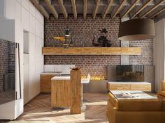 modernes Loft-Design - Küche und Wohnzimmer in einem Raum Küchen Design, Loft, Small Spaces, Interior Decorating, Living Room, Kitchen, Table, Home Decor, Furniture