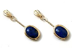 9ct Gold Lapis Lazuli Oval short Drop earrings