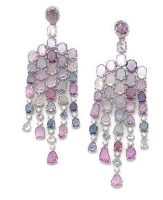 Coloured Sapphires and Diamond Earrings by Michael Youssouffian