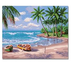 Diy oil painting, paint by number kit- Sunny Beach inch. for Like the Diy oil painting, paint by number kit- Sunny Beach inch. Oil Painting On Canvas, Diy Painting, Canvas Art, Wall Canvas, Beach Canvas Paintings, Summer Painting, Boat Painting, Acrylic Canvas, Canvas Frame