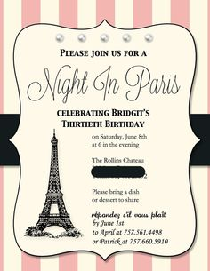 Paris invitations and free party printables cumpleaos paris themed birthday party invitations 30 invites by stampinfools 4500 solutioingenieria Choice Image