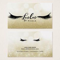#salon - #Lashes Gold Sparkle Glamour Eyelashes Chic Makeup Business Card