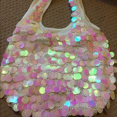 Selling this Glitzy large white sequin hobo bag! in my Poshmark closet! My username is: melmat7724. #shopmycloset #poshmark #fashion #shopping #style #forsale #Handbags