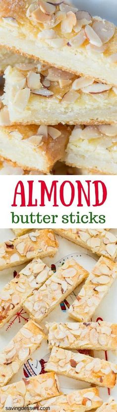 Almond Butter Sticks are a melt-in-your-mouth delicious, tender cookie made with a cream cheese dough and an almond sugar filling.savingdessert… We are want to say thanks if you like to. Desserts Français, Delicious Desserts, Dessert Recipes, Yummy Food, Bar Recipes, Almond Recipes, Almond Cookies, Keto Cookies, Cookies Et Biscuits