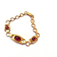 Antique Red Glass Link Bracelet Vintage Retro by CrimsonVintique