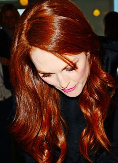 gorgeous red hair and pink lip