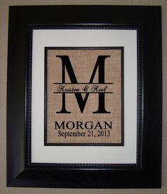 Such a cool idea this would be perfect for the holidays red bird diy Personalized BURLAP PRINT for Wedding Gift Bridal Shower Gift Anniversa. Burlap Monogram, Burlap Art, Monogram Frame, Bridal Shower Gifts, Bridal Gifts, Baby Shower Gifts, Baby Gifts, Great Wedding Gifts, Wedding Ideas