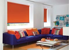 Orange style blinds for the home. Bright up your lounge area. These blinds are #wirefree #wireless #nowires #remotecontrol #smartphoneapp #tabletapp #noelectricianrequired #childsafe #cordless #largewindows #smallwindows #windowblinds #windowshades #windowcoveringsolution #prettywindows #childfriendly #smartblinds #homedesign #kitchenblinds #interiordesign #redesign #bathroomblinds #bedroomblinds #lounge