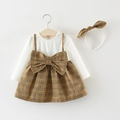 0fd94788cdf99 2018 new Autumn Spring Long Sleeve Kids Baby Girls sweet bow Plaid Dresses  Princess Tutu Birthday