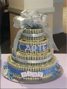 """Money gift ideas on Pinterest www.pinterest.com236 × 313Search by image Money cake! I used sewing pins to pin each dollar to the styrofoam """"cake"""" which took some practice. It was a time consuming thing, but I really liked how it turned out"""