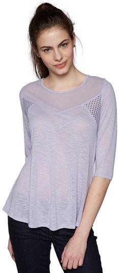 Langarm T-Shirt im Stoff-Mix für Frauen (unifarben, 3/4-Arm mit Rundhals-Ausschnitt) aus Slub-Jersey in Melange-Optik, mit dekorativen Netz- und Häkeleinsätzen, Metall-Coin mit Logo-Prägung. Material: 65 % Baumwolle 35 % Polyester...