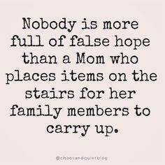 Nobody is more full of false hope than a mom who places items on the stairs for her family members to carry up. 9gag Funny, Funny Mom Memes, Funny Texts, Funny Quotes, Funny Humor, Funny Mom Stuff, Dog Texts, Epic Texts, Funny Pranks