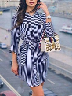 Shop Beading Mesh Splicing Pleated Maxi dress right now, get great deals at makeyouchic Mini Shirt Dress, Belted Shirt Dress, Striped Dress, African Fashion Dresses, Hijab Fashion, Fashion Outfits, Style Fashion, Indie Fashion, Classic Fashion