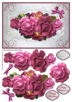 Cerise Rose Spray Large Card Front on Craftsuprint designed by Judith Mary Howells - Sized to fit an A5 card the card front features a beautiful spray of cerise roses with decoupage pieces and optional greeting plates for HAPPY BIRTHDAY, HAPPY ANNIVERSARY and BLANK for any other wording occasion. - Now available for download!