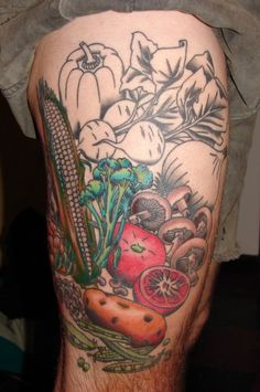 Don't know who has this but the people I know with food tattoos tend to be chefs