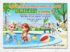 Frozen Invitation Disney Frozen Birthday Party by BogdanDesign Frozen Invitations, Pool Party Invitations, Birthday Invitations, Disney Frozen Birthday, Frozen Party, Frozen Movie, Frozen Theme, Presents For Bff, Birthday Ideas