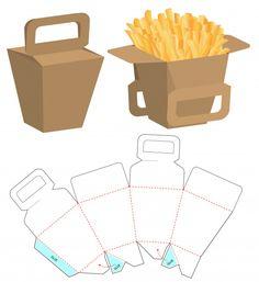 Fries Packaging, Paper Packaging, Box Packaging, Packaging Design, Coffee Packaging, Paper Box Template, Origami Templates, Box Templates, Die Cut Boxes
