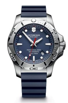 Not content with its Inox watches being among the toughest timepieces on the market, Victorinox has now made one with a strap which is claimed to withstand attacks from water, salt, acid and flames. [b]Watch of the collection[/b] The Professional Diver. As hardy as the ordinary Inox, but with a uni-directional dive time bezel and it's water resistant to 200m. Black, yellow, red and blue dials are available.